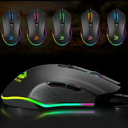 Gaming Mice Mouse 3200DPI USB RGB Flowing Backlit Light Wire