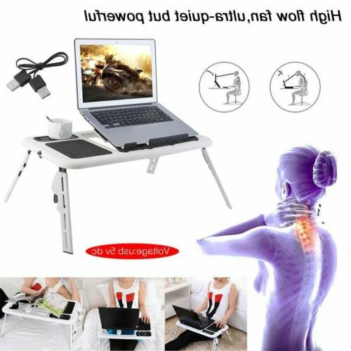 With 2 Cooling Fans Foldable Laptop Lap Desk Table Bed Noteb