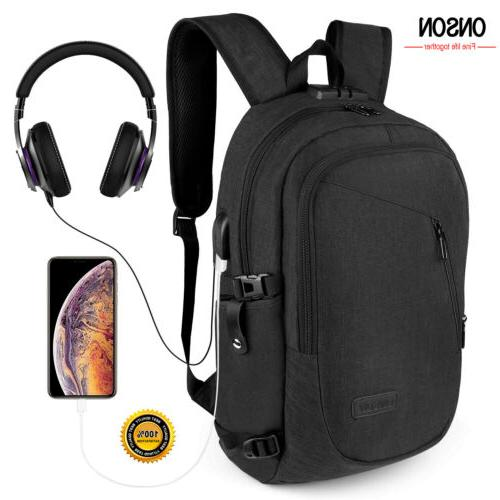 anti theft waterproof mens backpack usb charger