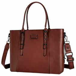 MOSISO Laptop Tote Bag for Women ,Water Resistant PU Leather