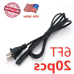 Lot 20 US 2 Prong 2Pin AC Power Cord Cable Charge Adapter PC