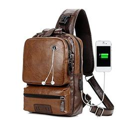 Men PU Leather Laptop Sling Bag Cross Body Messenger Daybag