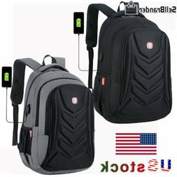 """Swiss EVA Protect shell 15.6"""" Laptop Backpack USB Charge Por"""