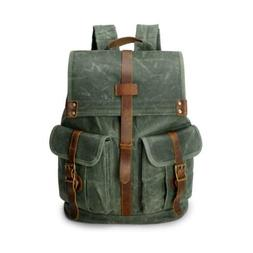 Waxed Canvas Leather Rucksack Water Proof 15.6 In Laptop Com